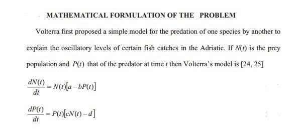 Lotka-volterra predator-pey equations model